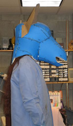 Lehigh University Costume Shop - process for creating ass' head - initial foam form profile