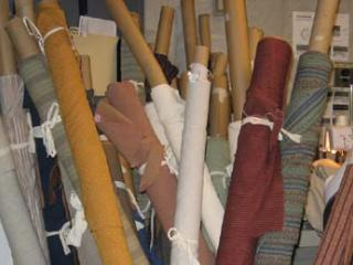 Lehigh University Costume Shop - rolls of fabric
